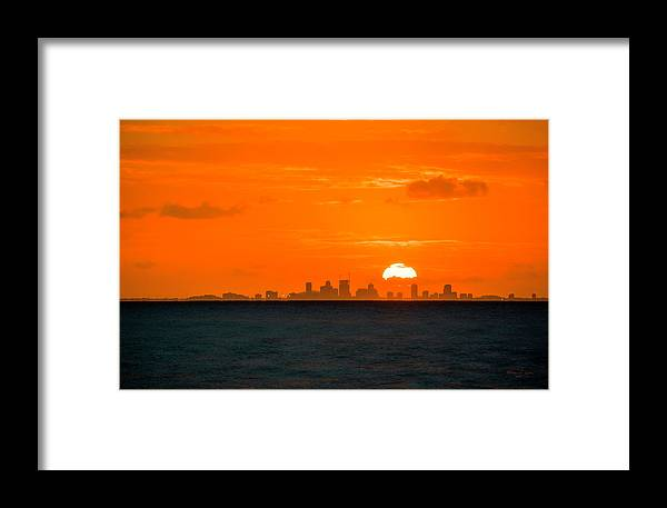 Sunset Framed Print featuring the photograph St. Pete Fireball by Marvin Spates