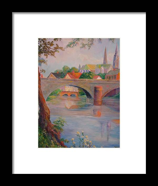Bridge Framed Print featuring the painting St. Peters And St. Augnion Churches by Anne Dentler