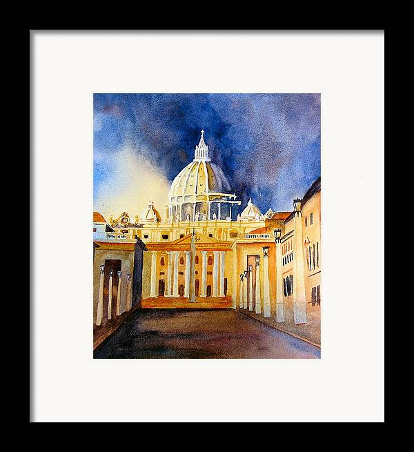 Vatican Framed Print featuring the painting St. Peters Basilica by Karen Stark