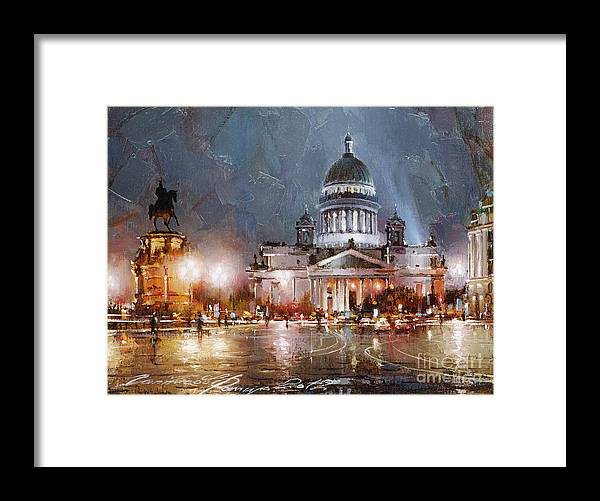 St. Petersburg Skyline Framed Print featuring the painting St. Petersburg.isaac Square by Ramil Gappasov