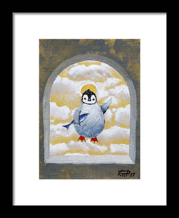 Penguin Fish Gold Icons Religious Saint Silly Degenerate Infantilism Framed Print featuring the painting St Pinguin Bringer Of Fish by Poul Costinsky