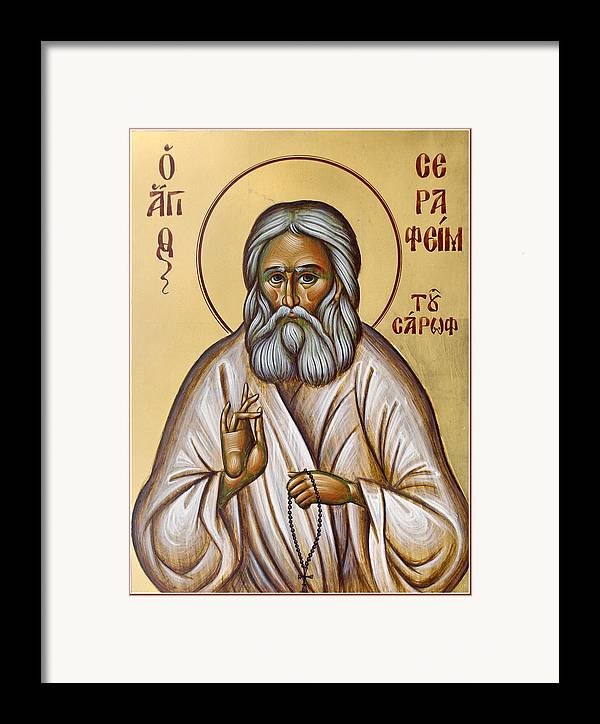 Icon Framed Print featuring the painting St Seraphim Of Sarov by Julia Bridget Hayes
