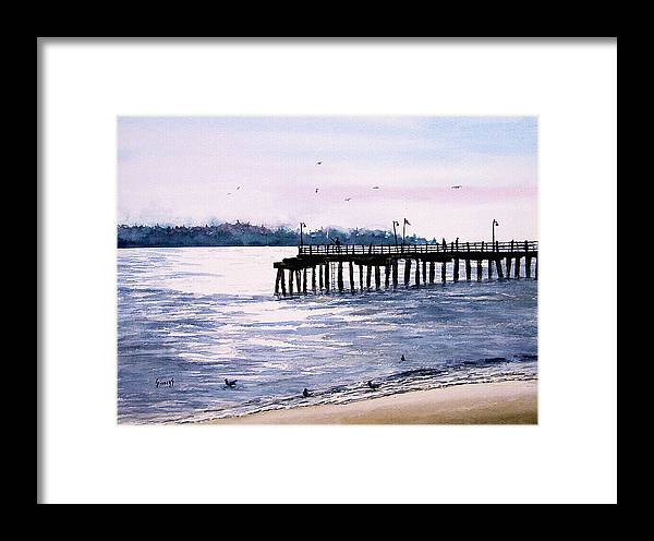 Fishing Framed Print featuring the painting St. Simons Island Fishing Pier by Sam Sidders