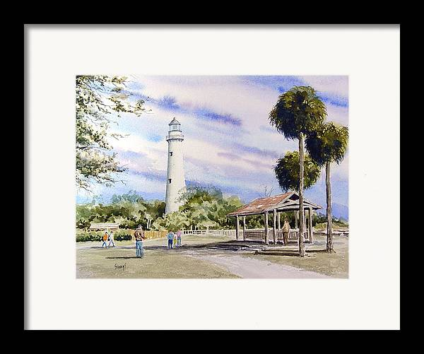 Lighthouse Framed Print featuring the painting St. Simons Island Lighthouse by Sam Sidders