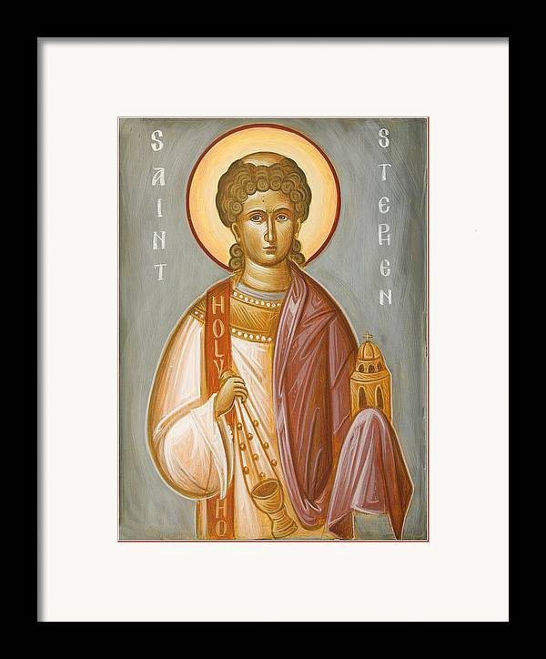 St Stephen Framed Print featuring the painting St Stephen II by Julia Bridget Hayes