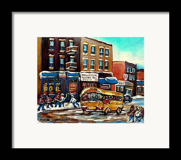 St. Viateur Bagel With Hockey Bus Framed Print featuring the painting St. Viateur Bagel With Hockey Bus by Carole Spandau