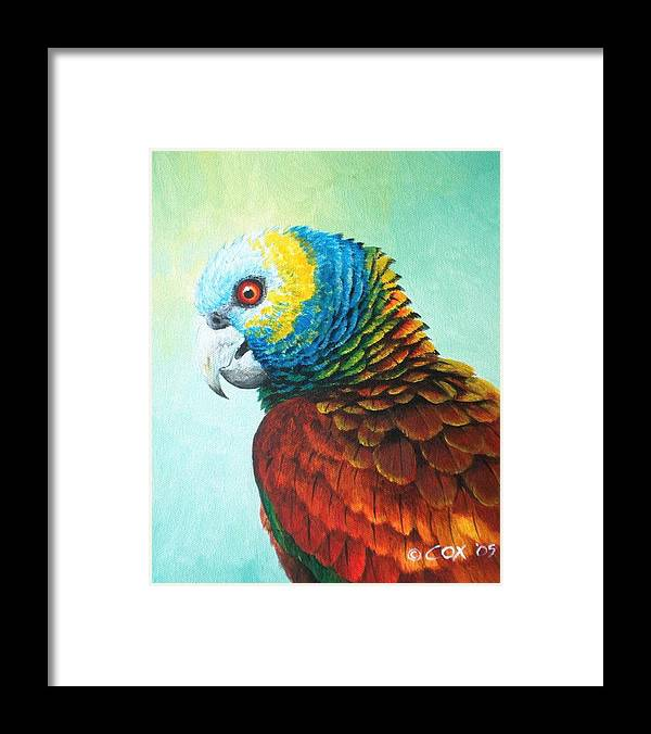 Chris Cox Framed Print featuring the painting St. Vincent Parrot by Christopher Cox