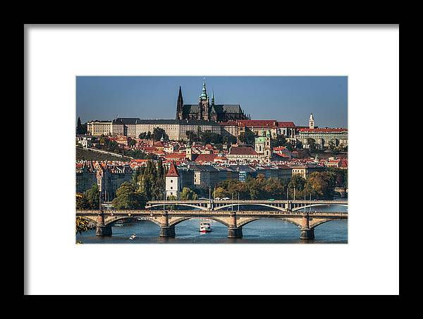 Castle Framed Print featuring the photograph St. Vitus Cathedral And Bridges by Fabio Gomes Freitas