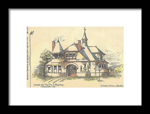 Hershey Framed Print featuring the painting Stable For Mr. M. S. Hershey Lancaster Pennsylvania 1891 by Emlen Urban