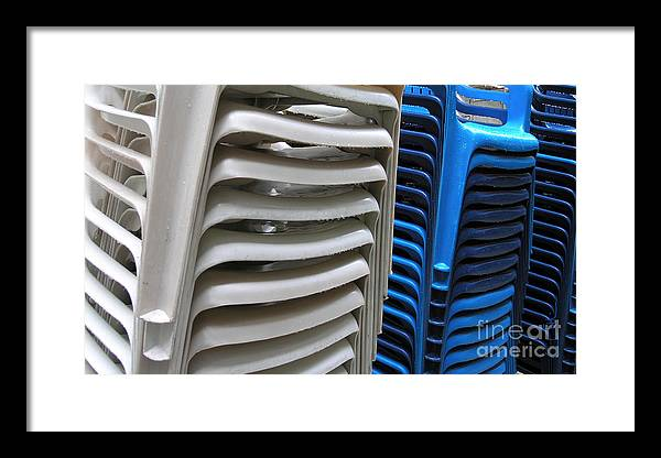 Chair Framed Print featuring the photograph Stacked Chairs by Carlos Alvim