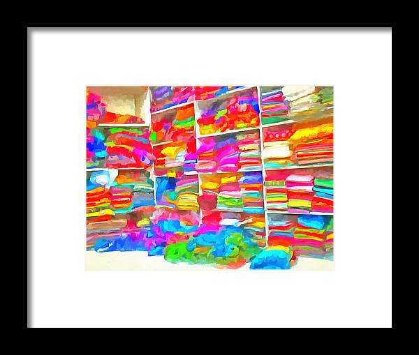 Clothes Framed Print featuring the photograph Stacks Of Clothes Ready To Sell by Ashish Agarwal