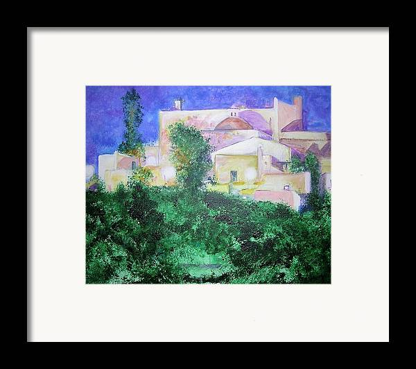 Landscape Framed Print featuring the painting Staeulalia Church - Lit Up At Night by Lizzy Forrester