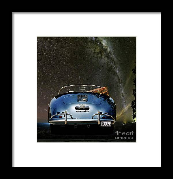 Star Gazing Framed Print featuring the mixed media Star Gazing,1955 Porsche 356a 1600 Speedster, Under The Milky Way by Thomas Pollart