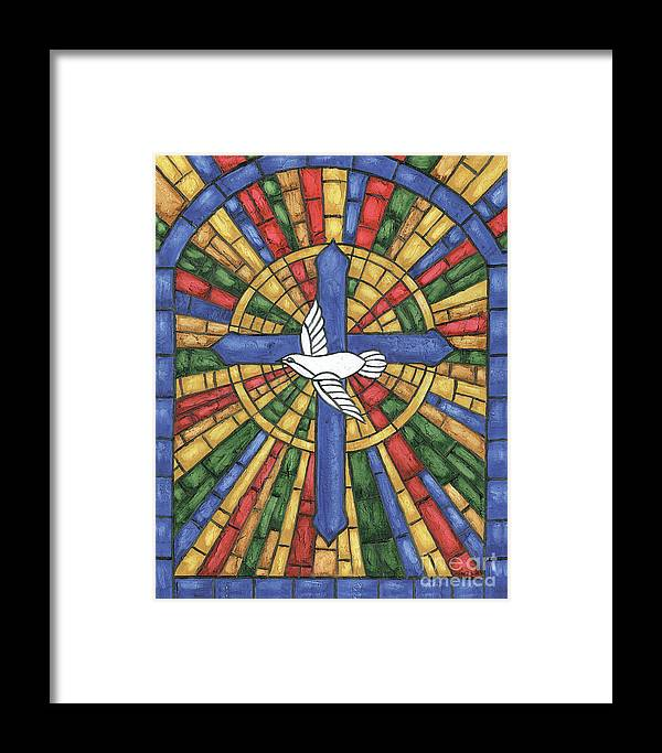 Dove Framed Print featuring the painting Stained Glass Cross by Debbie DeWitt