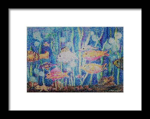 Fish Framed Print featuring the mixed media Stained Glass Fish by Arline Wagner