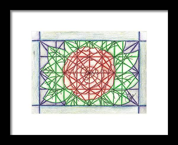Framed Print featuring the drawing Stained Glass by Lynnette Jones