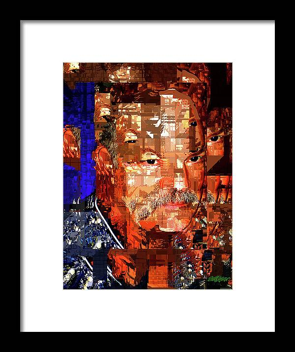 Stained Glass Man Framed Print featuring the digital art Stained Glass Man by Seth Weaver