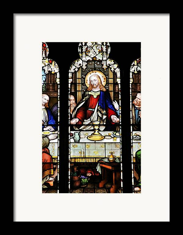Stained Framed Print featuring the photograph Stained Glass Window Last Supper Saint Giles Cathedral Edinburgh Scotland by Christine Till