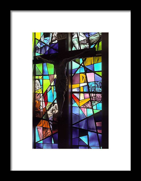 Stained Glass Window Framed Print featuring the photograph Stained Glass With Crucifix Silhouette by Sally Weigand