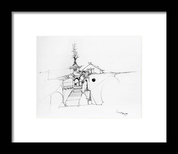 Rocks Framed Print featuring the drawing Stairs To A Temple And A Tree Among Rocks by Padamvir Singh