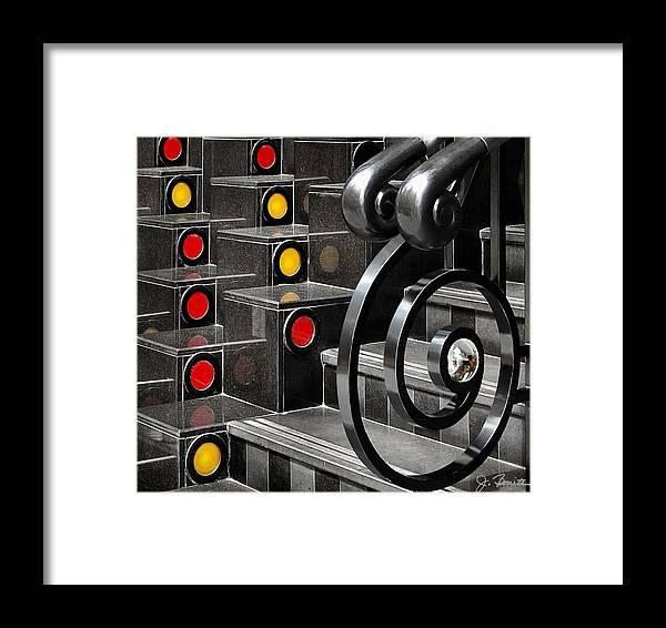 Abstract Framed Print featuring the digital art Stairstep Abstract by Joe Bonita