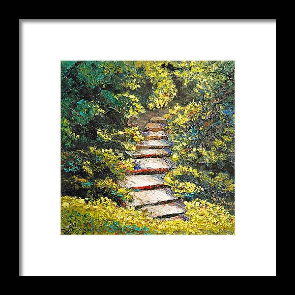 Landscape Framed Print featuring the painting Stairway To Heaven by Cathy Fuchs-Holman