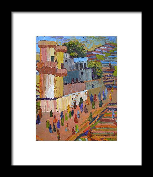 Stairs Framed Print featuring the painting Stairway To Heaven Varanasi by Art Nomad Sandra Hansen