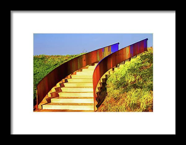 Stairs Framed Print featuring the mixed media Stairway To... by Terry Davis