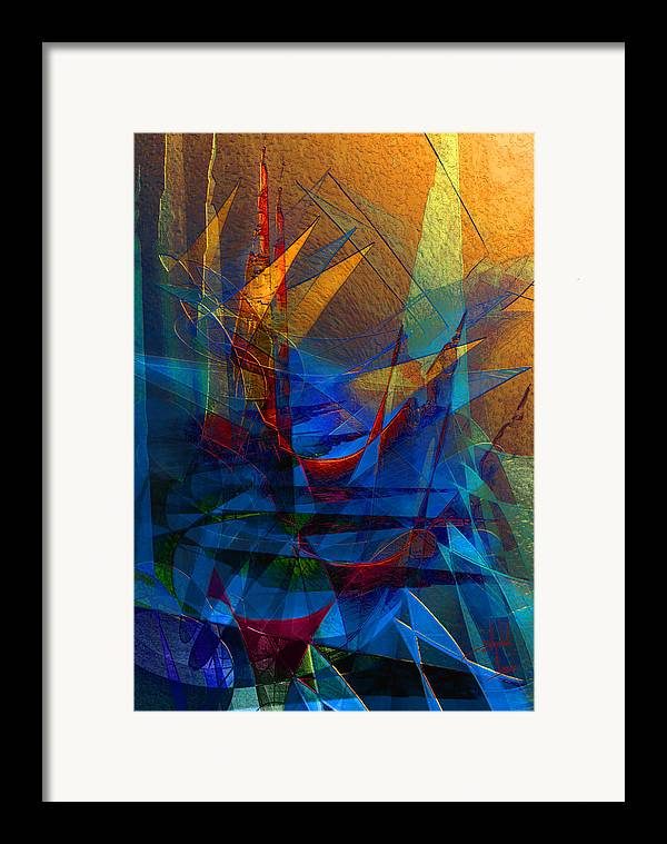 Abstract Framed Print featuring the digital art Stairway Upon Grail Passeges by Stephen Lucas