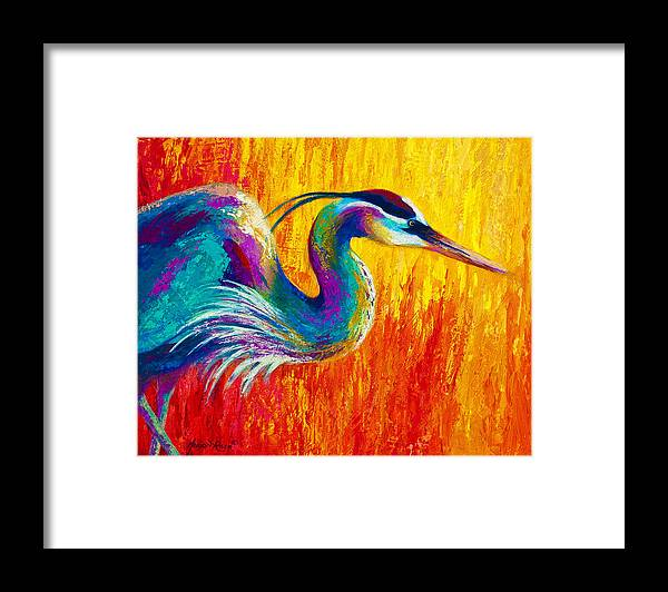 Heron Framed Print featuring the painting Stalking The Marsh - Great Blue Heron by Marion Rose