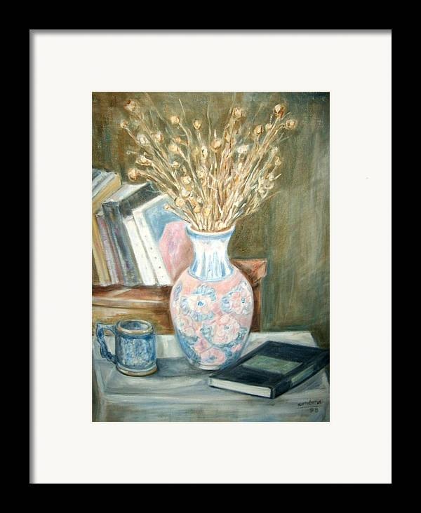 Still Life With Books Vase Dry Plants Book Framed Print featuring the painting Stalks 2 by Joseph Sandora Jr