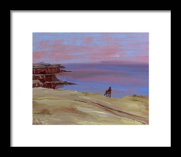 Seascape Framed Print featuring the painting Stallion At Dingle Bay by Cathy France