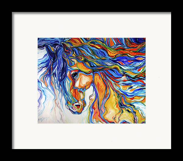 Equine Framed Print featuring the painting Stallion Southwest By M Baldwin by Marcia Baldwin