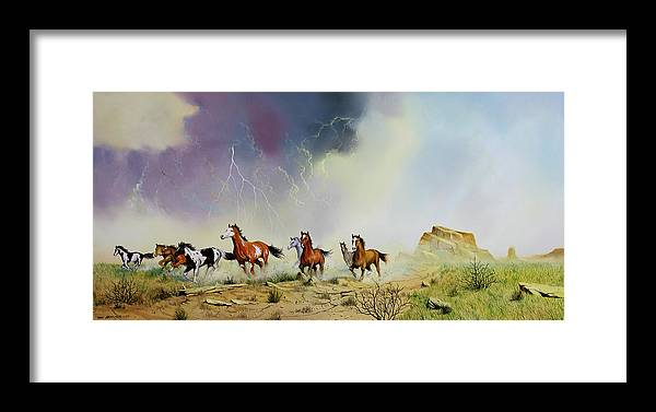 Mustangs Framed Print featuring the painting Stampede by Don Griffiths