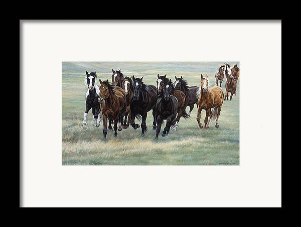 Michelle Grant Framed Print featuring the painting Stampede by JQ Licensing