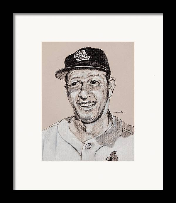 St. Louis Cardinals Framed Print featuring the drawing Stan The Man by Jim Wetherington