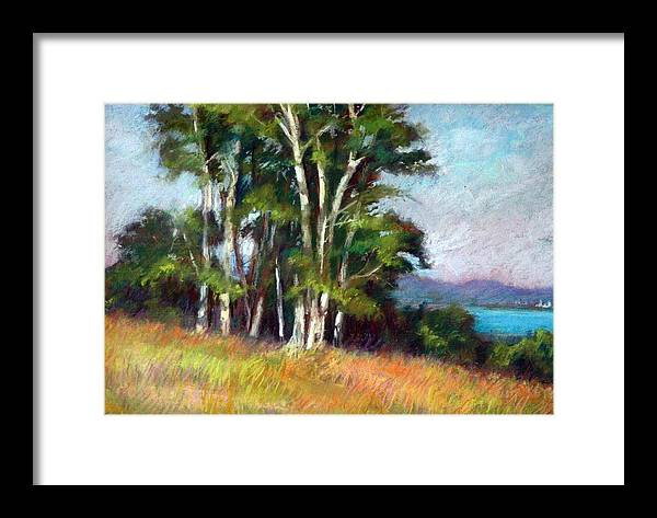 Blue Framed Print featuring the pastel Stand Of Trees by Estelle Schwarz