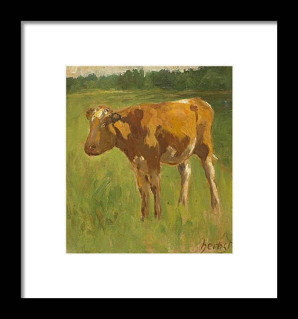 Thomas Ludwig Herbst Framed Print featuring the painting Standing Calf by Thomas Ludwig Herbst