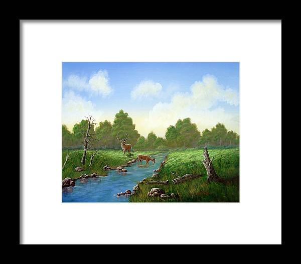 Landscape Framed Print featuring the painting Standing Guard by SueEllen Cowan