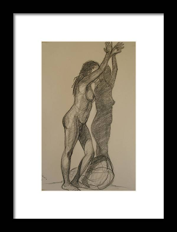 Realism Framed Print featuring the drawing Standing Nude 1 by Donelli DiMaria