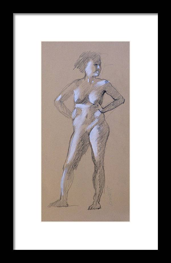 Life Framed Print featuring the drawing Standing Nude 1 by Robert Bissett