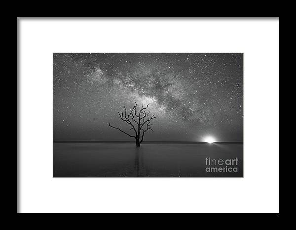 Botany Bay Milky Way Framed Print featuring the photograph Standing Still Bw by Michael Ver Sprill