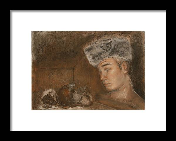 Charcoal Framed Print featuring the painting Stanislav And 4 by Danielle Wilbert