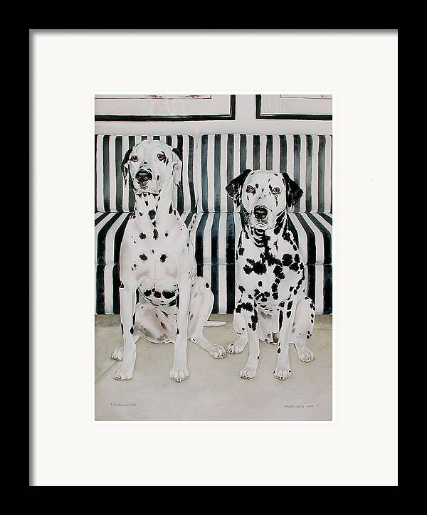 Portrait Framed Print featuring the painting Stanley And Stelle by Eileen Hale