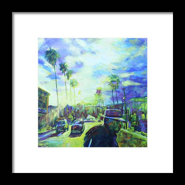 Blue Framed Print featuring the painting Stanley and Sunset by Bonnie Lambert