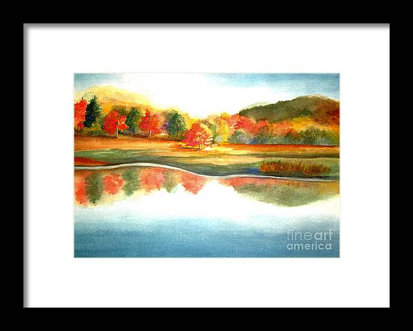 Landscape Framed Print featuring the painting Stanley Park In The Fall by Vivian Mosley
