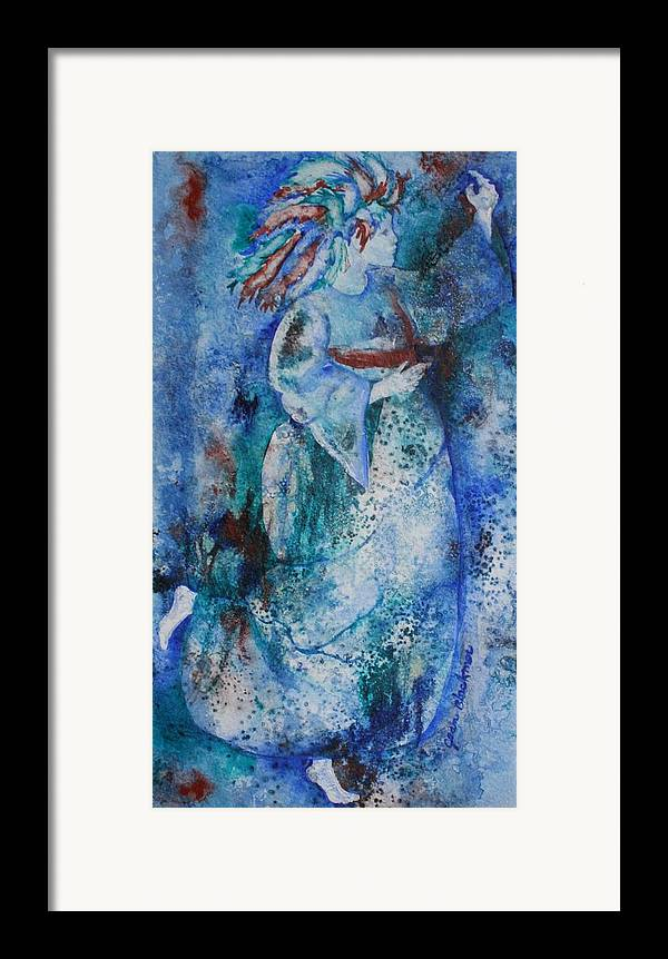 Abstract Framed Print featuring the painting Star Dancer by Jean Blackmer