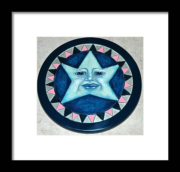 Whimsical Star Face Woodburned And Painted On Wooden Lazy Susan Framed Print featuring the mixed media Star Face Lazy Susan by Mickie Boothroyd