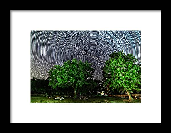 Astronomy Framed Print featuring the photograph Star Trails At Sunken Meadow State Park by Justin Starr