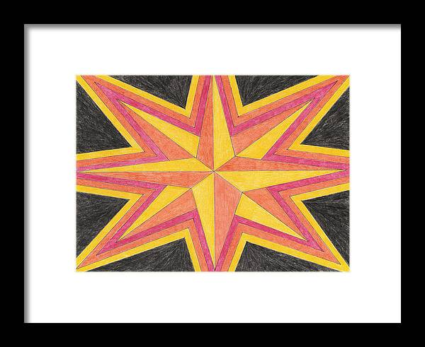 Star Framed Print featuring the drawing Starburst 2 by Eric Forster